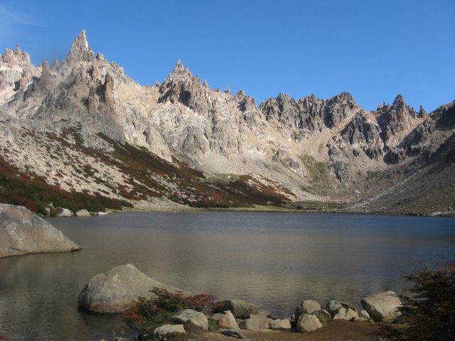 A mountain lake and the craggy spires of the Andes, Nahuel Huapi National Park, Argentina