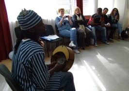 Lance reciting and playing the mbira