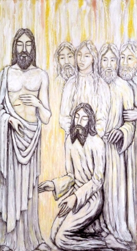 Jesus Appears to Thomas .   Jacek Andrzej Rossakiewicz,  from Art in the Christian Tradition
