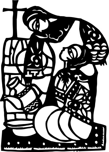 Mary and Martha, He Qi, papercut, in my collection