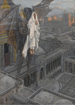 """""""Jesus Carried Up to a Pinnacle of the Temple,"""" by James Jacques Joseph Tissot. Vanderbilt Divinity School Library, Art in the Christian Tradition."""